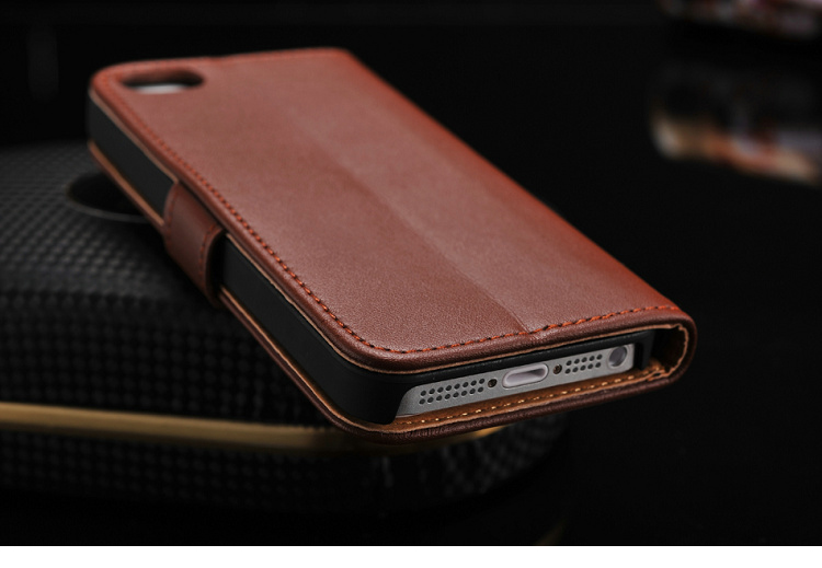 newest d1414 a55fc Premium Leather Wallet Case for iPhone 5