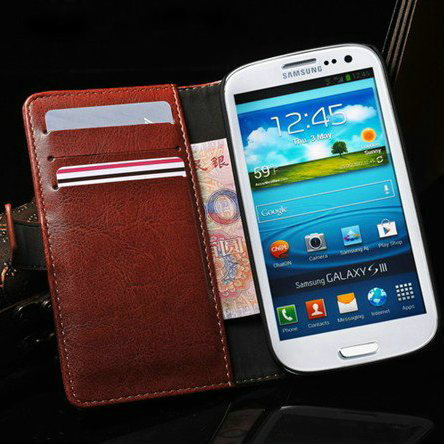new style a5629 5cd54 Leather Wallet Case for Samsung Galaxy S3